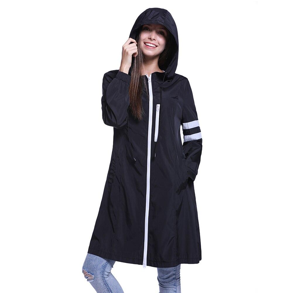 Autumn Waterproof Black Casual Women Jacket Harajuku Straight Long Slim Windbreaker Jacket Hooded Coat Ladies Outwear