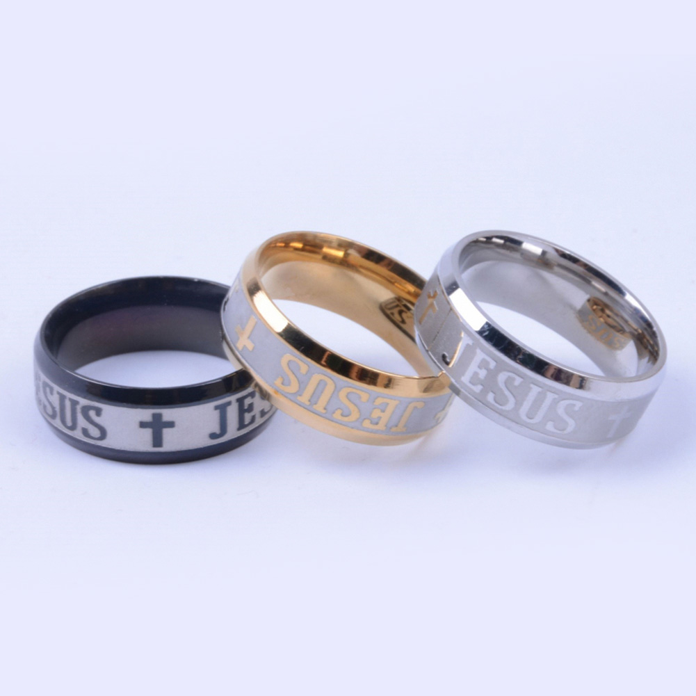 Gold Color Stainless Steel Finger Ring For Man Woman Jesus Rings Fashion Religious Jewelry Wholesale