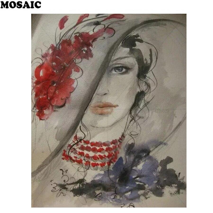 diy 5d diamond painting portrait full square mosaic cross stitch diamond embroidery abstract beautiful woman home decor D93