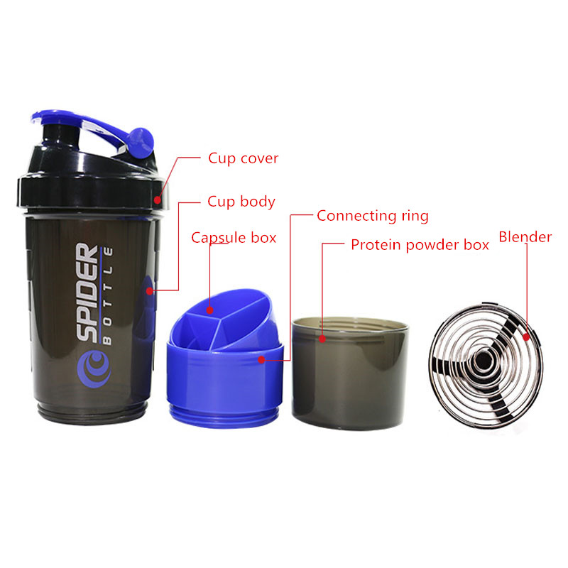YIBO Creative Sports Water Bottle Protein Powder Shake Bottle Mixer Sports Fitness Kettle Sports Water Bottle