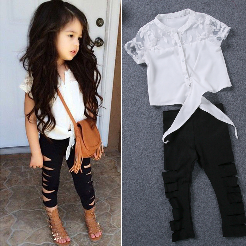 Girls clothes set summer white lace shirt ripped leggings baby girl clothing set fashion brand outfits kids clothes suit holes newborn toddler girls summer t shirt skirt clothing set kids baby girl denim tops shirt tutu skirts party 3pcs outfits set