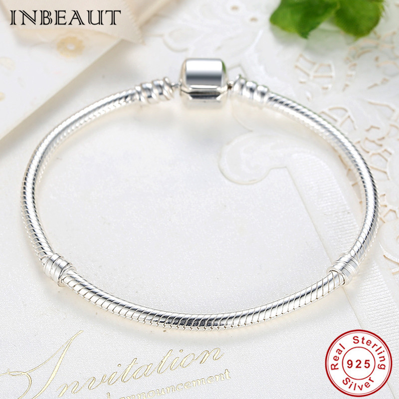 DIY 925 Sterling Silver Snake Bone Chain Bracelet for Jewelry Making Women Elegant S925 Wedding Bangles&Bracelets Teen Girls