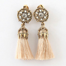 Vintage Metal Rose Tassel Earrings