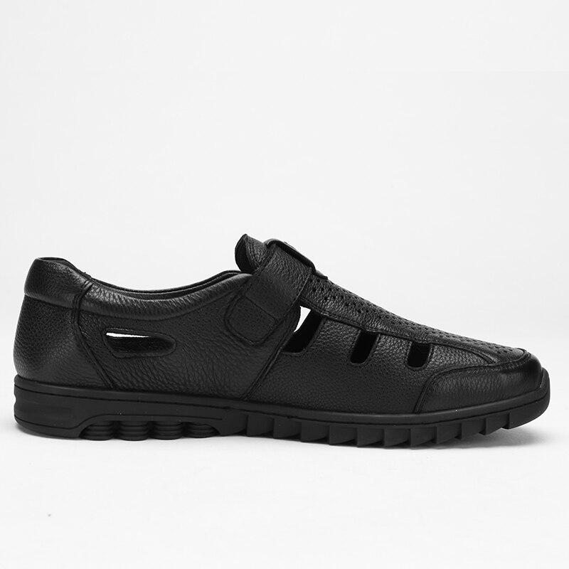 CAMEL męskie sandały letnie Hollow męskie buty ze skóry naturalnej oddychające lekkie w średnim wieku biznes antypoślizgowe buty w stylu casual w Sandały męskie od Buty na  Grupa 3