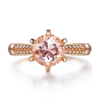 Peacock Star Classic 14K Rose Gold Wedding Engagement Ring 1.2 Ct Peach Morganite Natural Diamonds 6 Claws Prong 1