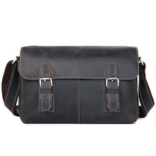 Real Cowhide Leather Vintage Men Briefcase Black Male Messenger Bags Mens Ipad Travel Adjustable Man Crossbody
