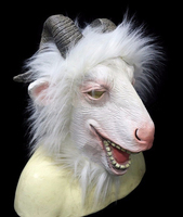 Latex Goat Mask with Horns Ram Animal Head Adult Halloween Costume Face Disguise White