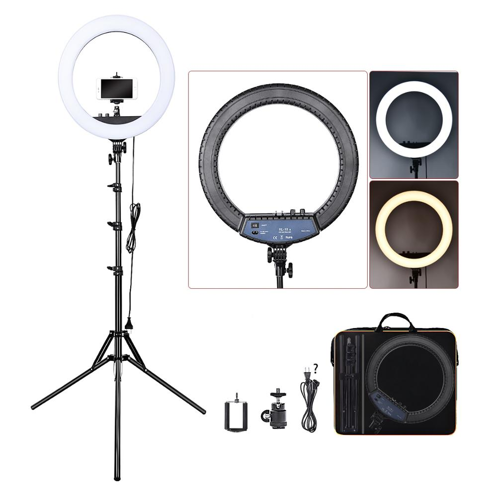 FOSOTO RL 18II Photographic Lighting 3200K 5600K 512 Led Ring Lamp Dimmable Camera Photo Studio Phone
