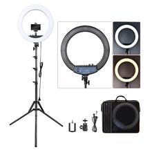 FOSOTO RL-18II Photographic Lighting 3200K-5600K 512 Led Ring Lamp Dimmable Camera Photo Studio Phone Makeup Ring Light Tripod supon l122t 3 sets led video light studio light photographic lighting with tripod 3200k 5600k panel lamps for photo youtube
