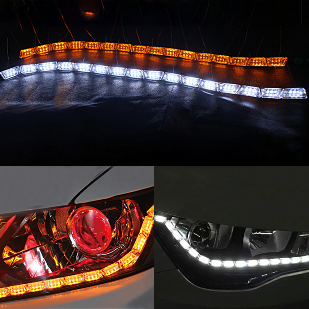 MODERN CAR Flexible White Amber Daytime Running Lights Sequential Flowing Switchback LED DRL Strip Lights Flow Turn Signal Lamp in Car Light Assembly from Automobiles Motorcycles