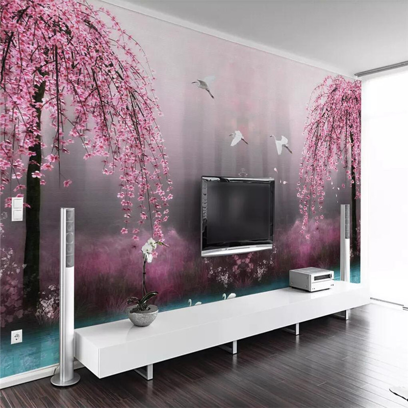 Pink Sakura Swan Lake Landscape TV Background Wall Professional Production Mural Wholesale Wallpaper Poster Photo