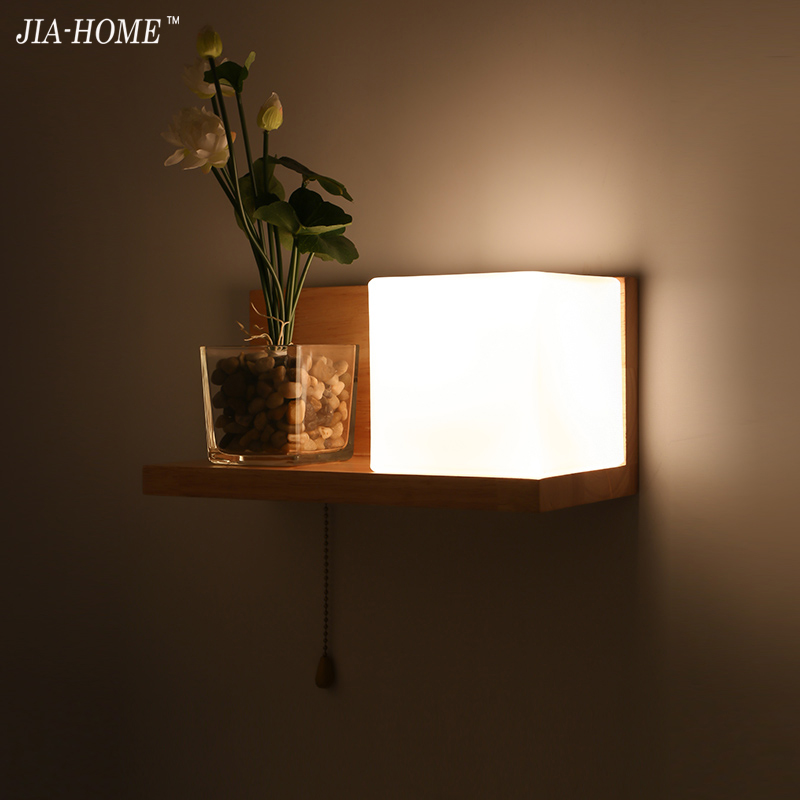 Modern wooden Wall Lamp Lights For Bedroom Lighting Wall wooden and milk withe glass lampshade wall