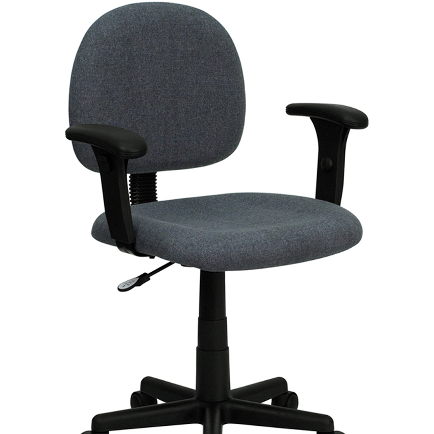 Flash Furniture Mid-Back Ergonomic Gray Fabric Task Chair with Adjustable Arms [863-BT-660-1-GY-GG] 240337 ergonomic chair quality pu wheel household office chair computer chair 3d thick cushion high breathable mesh