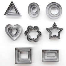 24 pcs/set Cookie Cutter Mold Stainless Steel 8 Shapes Cake Stamp Sugar Craft Fondant Decoration Tools
