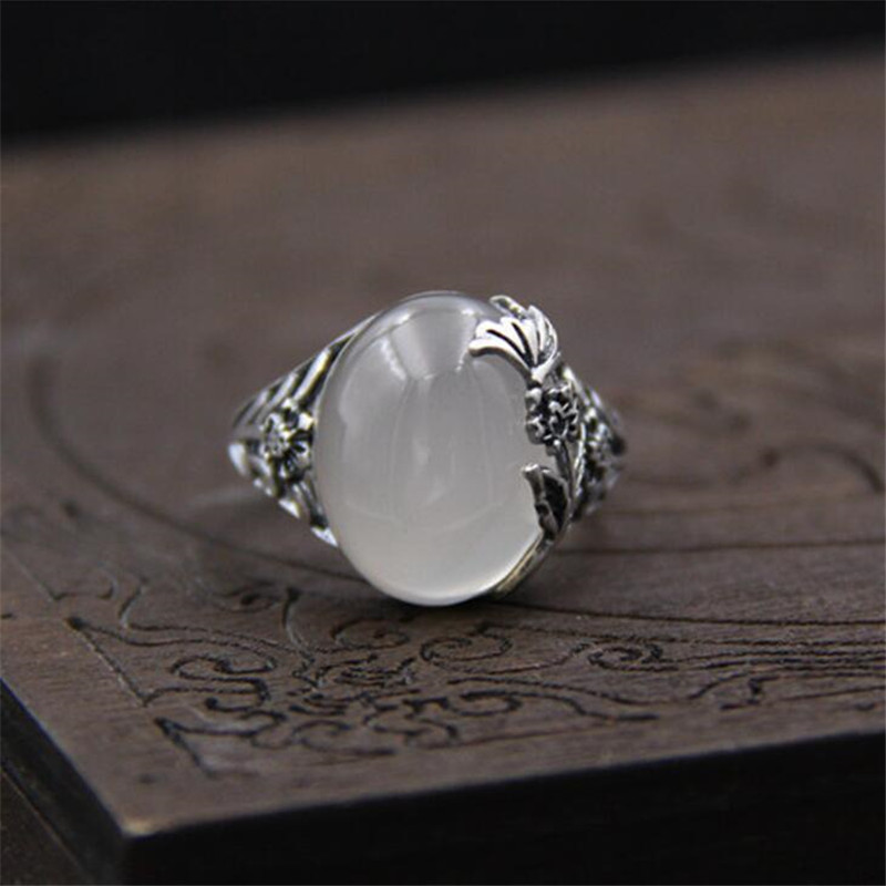 Pure 999 Sterling Silver Rings For Women Vintage White Jade Flower Natural White Chalcedony Ethnic Thai Silver Fine Jewelry in Rings from Jewelry Accessories