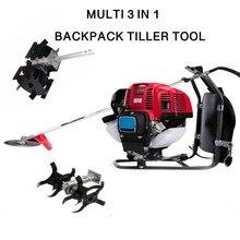 цена на Multi Lawn mower Backpack 52cc 3 in 1 gasoline mini tiller cultivator digging tool hedge trimmer garden farm tool