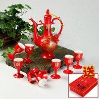 Китайские традиционные свадебные приданое красный жениться празднование фарфор вино набор тост чашка керамическая молодоженов подарок кр