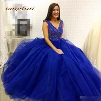 Quinceanera Dresses Party Long Sweet 16 Princess Tulle Crystal Beaded Ball Gown Prom Dresses Prom Party Dress For Girls 2018