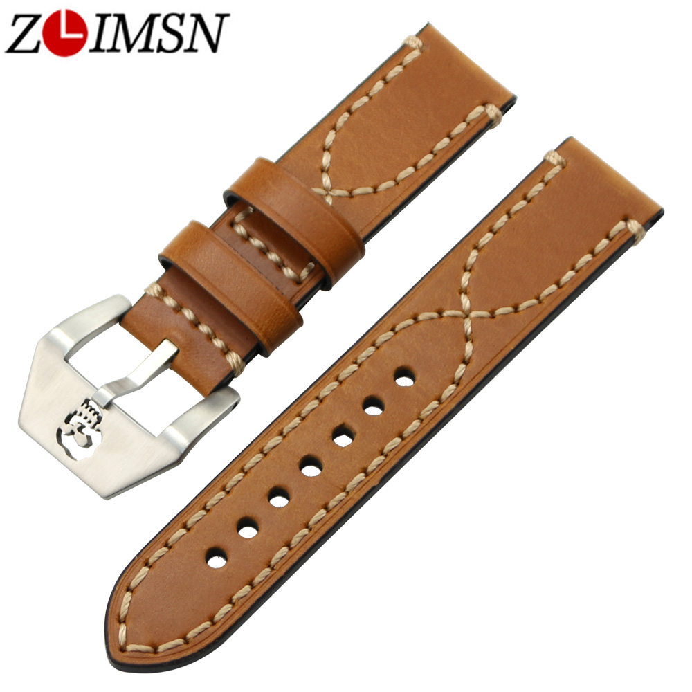 ZLIMSN Skull Buckle Silver Brushed Genuine Leather Watch Bands Strap Thick Belt Brown 20 22 24 26mm 316L Stainless Steel Clasp 20 22 24 26mm black crazy horse genuine leather watchband fashion nato watch strap belt with silver or black buckle clasp