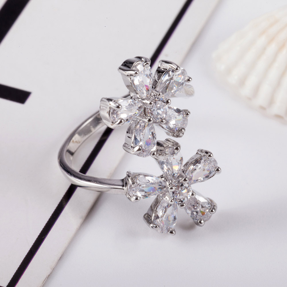 New Arrival Fashion Jewelry Finger Rings For Women Sliver-color Inlay Double Flowers Cubic Zircon Lady Wedding Rings