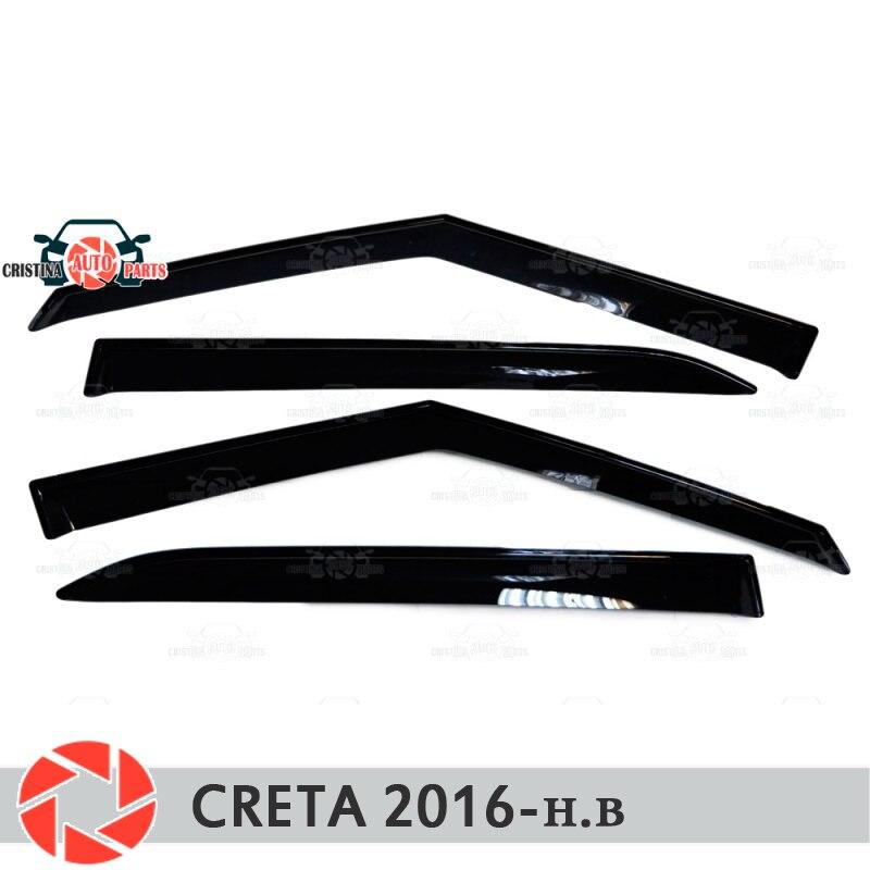 Window deflectors for Hyundai Creta 2016- rain deflector dirt protection car styling decoration accessories molding