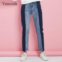 Ynncnik 2018 Jeans Women Color Panelled Denim Pants High Waist Straight Leisure Trousers Irregular Ankle Length Pants S1056