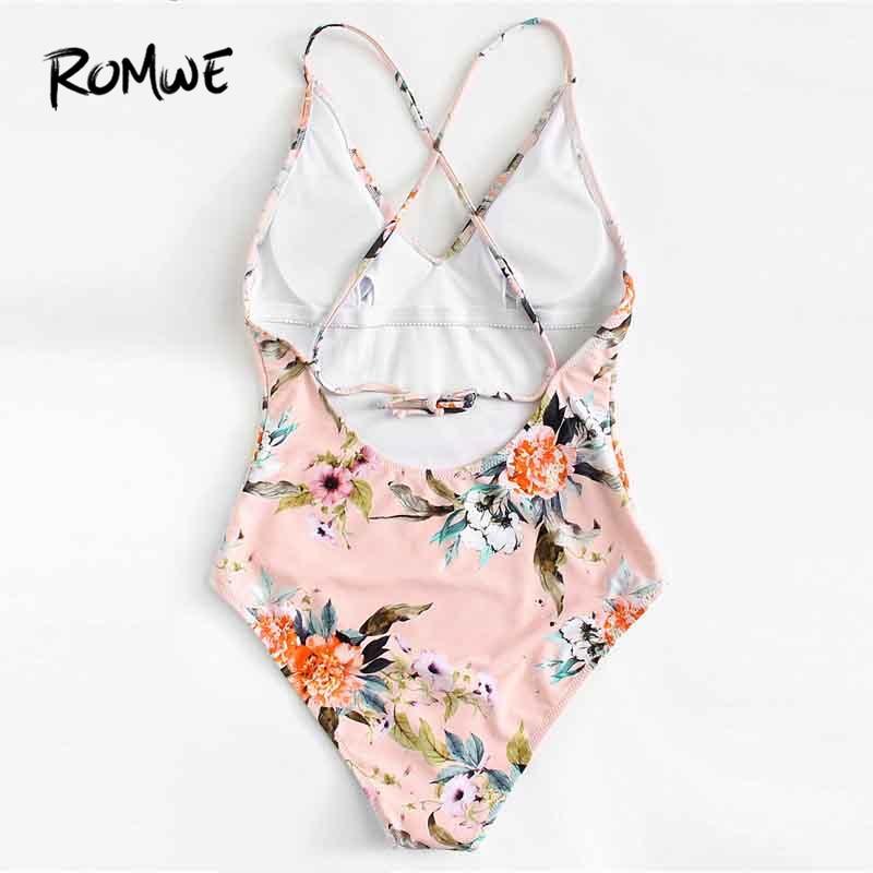 1ea71e878c178 Romwe Sport Pink Floral Ruffle Backless Swimwear Women 2018 Sexy One Piece  Swimsuit Monokini Bodysuit Bathing Beach Bikinis-in Body Suits from Sports  ...