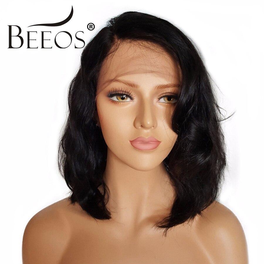 BEEOS Court Avant de Lacet Perruques de Cheveux Humains Avec Bébé Cheveux Non Remy 130% Densité Brésiliens Pré Pincées Dentelle Perruques Moyenne cap 22-22.5