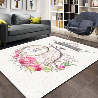 Else Vintage Big Retro Bicycle Pink Rose Floral 3d Print Non Slip Microfiber Living Room Decorative Modern Washable Area Rug Mat
