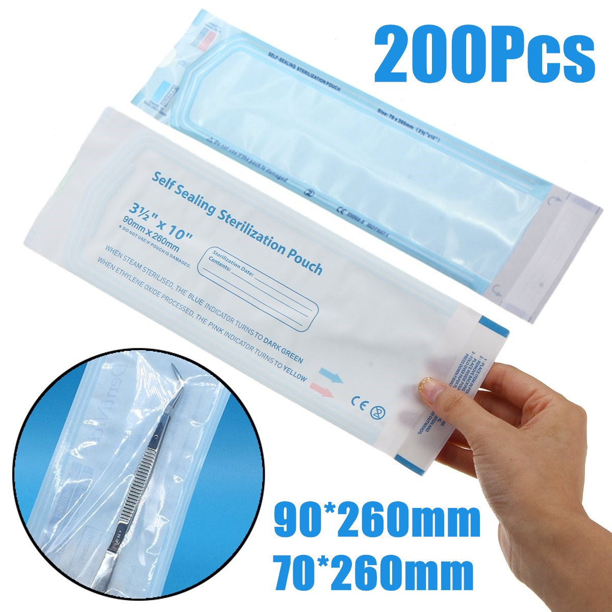 цена на 200PCS/Pack Self Sealing Sterilization Pouch Medical Grade Paper Disposable Dental Tattoo Tool Storage Bag 260*90/70*260mm