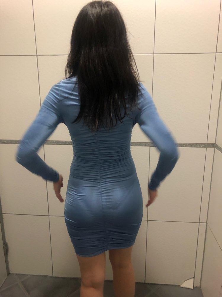satin long sleeve high neck high waist bodycon sexy mini dress autumn winter women fashion party elegant clothes photo review