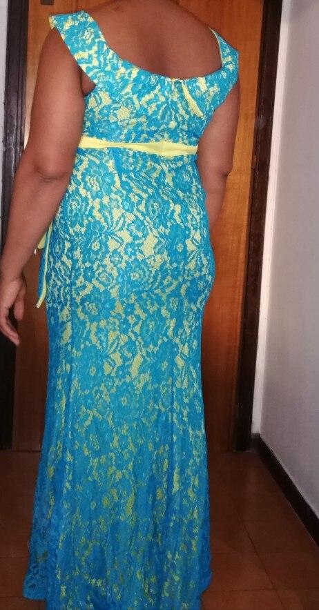 Women Maxi Dresses Elegant Blue Plus Size Mermaid High Waist Off Shoulder Ruffles Female Fashion Retro Lace Party Long Dress photo review