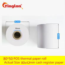 Термочувствительная бумага кассовый аппарат 2 рулона/Лот 80*50& 80*60 EFTPOS машина 80x42 рулон Однослойная Бумага для термопринтера