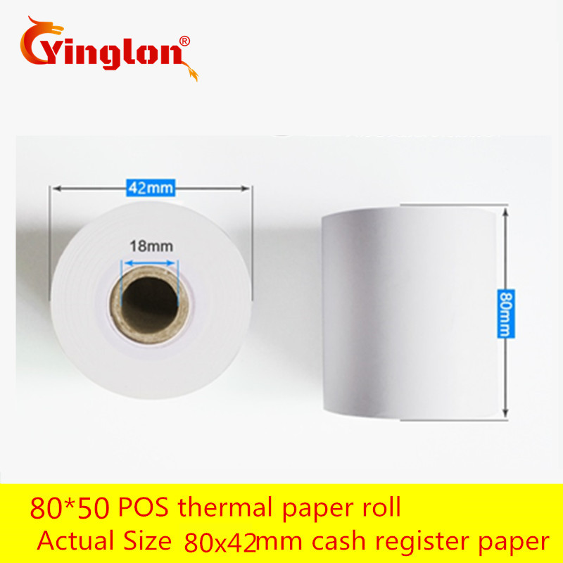 Thermosensitive Paper Cash Register 2 Rolls/lot 80*50 & 80*60 EFTPOS Machine 80x42 Roll Single Layer Paper For  Thermal Printer