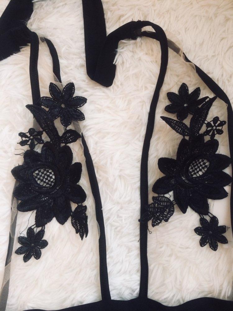 VESTLINDA Women Fashion Bodysuits Sexy Black Halter Voile Spliced Floral Pattern Backless Women's Jumpsuits One Piece Bodysuit