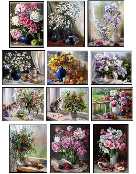 Embroidery Counted Cross Stitch Kits Needlework - Crafts 14 Ct DMC Color DIY Arts Handmade Decor - Flowers In Vase Collection