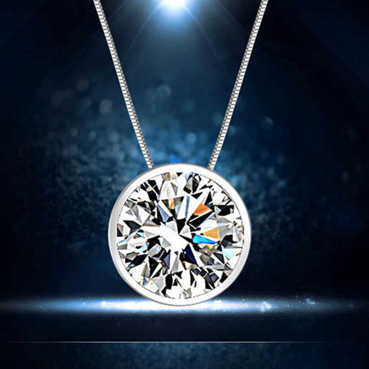 Without Chain!!Hot Clavicle Decorative Round Single Rhinestone Silver Plated Pendant  Fashion Jewelry Lovers Couple Gift