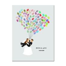 Персонализация «сделай сам» отпечаток пальца Свадебный Гость книга Свадебные подарки для гостей Невеста и жених холст печать Свадебная книга Свадебный декор