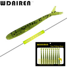 10Pcs/Lot Lures Soft Bait 6.3mm 1.3g silicone bait Worms fishing lure with salt smell Fishing Takcle Artificial Lures FA-224