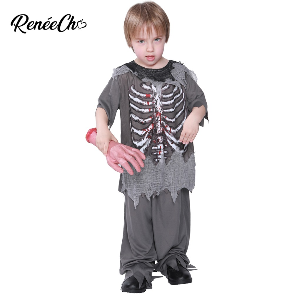 2018 halloween costumes for kids boy zombie costume bloody skeleton