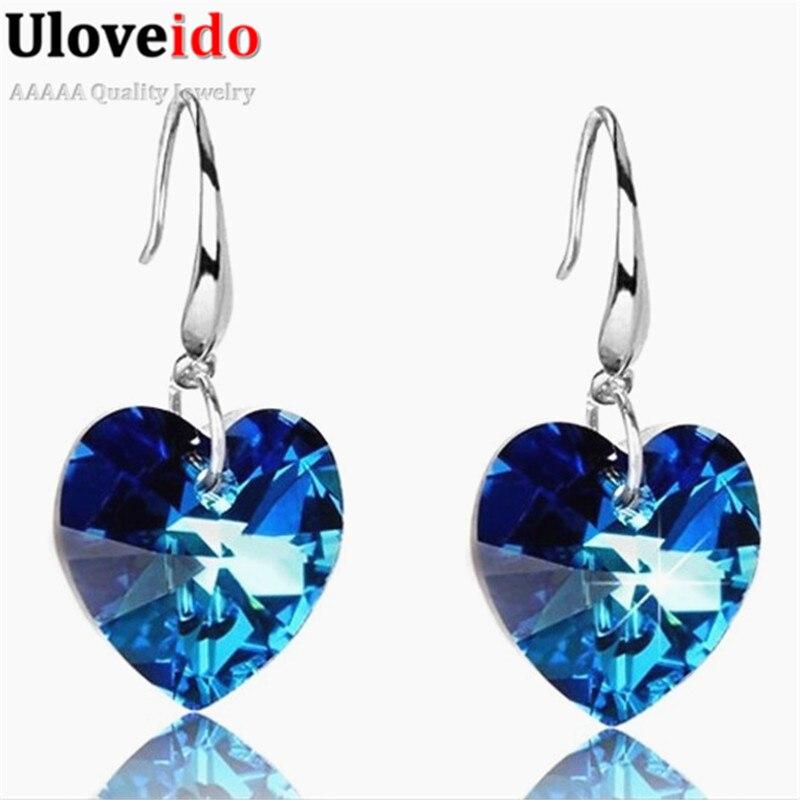 Uloveido Titanium CZ Zircon Jewelry Women's Love Heart Crystal Earrings Jewelry Vintage Earrings Brincos Cubic Zirconia LC002