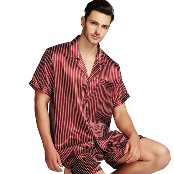 Męska jedwabna satynowa piżama piżama zestaw piżam zestaw bielizny nocnej Loungewear S M L XL 2XL 3XL 4XL krótkie rękawy tanie i dobre opinie Mężczyźni Piżamy Skręcić w dół kołnierz REGULAR Paski LONXU 5Strip Przycisk fly Lycra Jedwabiu Casual