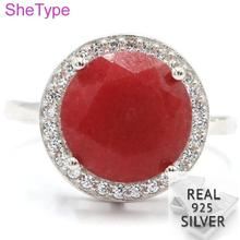 14x14mm 4.2g Real Red Ruby White CZ Gift For Girls 925 Solid Sterling Silver Rings