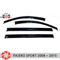 Окна отражатель для Mitsubishi Pajero Sport 2008 2015 Дождь Отражатель грязь защиты Тюнинг автомобилей украшения аксессуары для литья