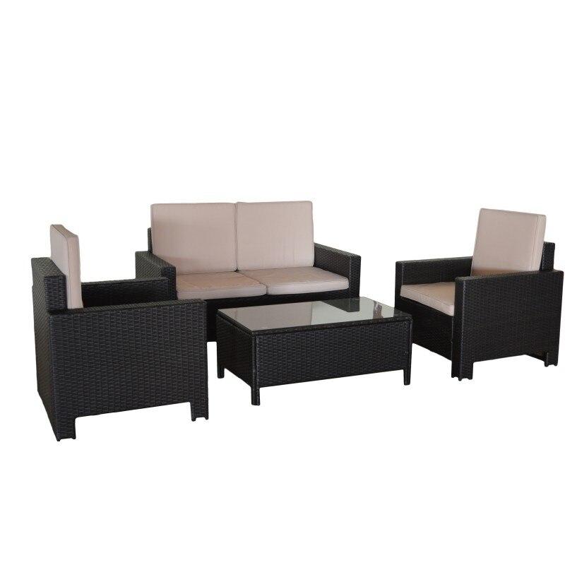 Набор диванов во Флориде. Уличная мебель, плетеная вручную, состоит из 1 двойной диван, 2 кресла и 1 стол. Muebles снаружи