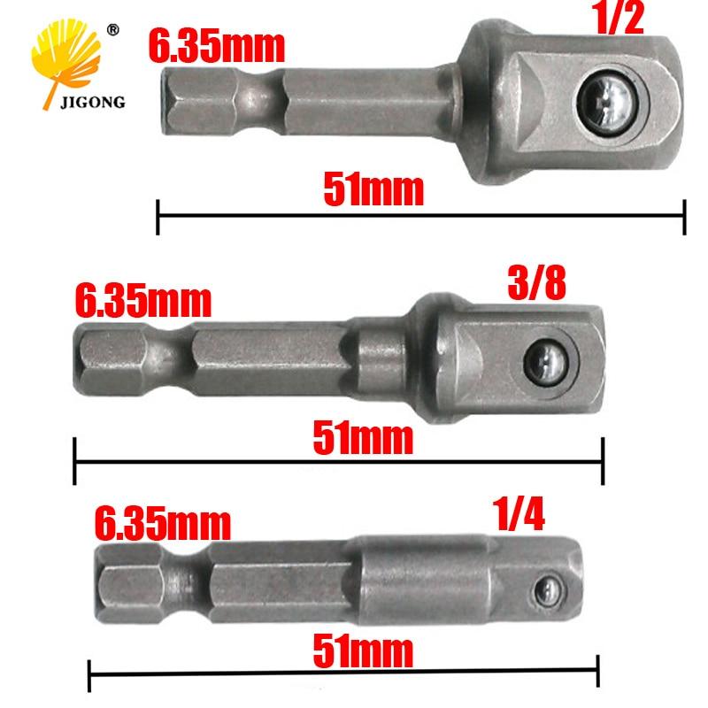 JIGONG 3 Sizes Socket Adapter Set 1/4 Hex Shank To 1/4