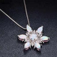 Blaike 925 argent Sterling rempli blanc feu opale flocon de neige pendentif colliers pour les femmes mode bijoux pierre de naissance collier de noël