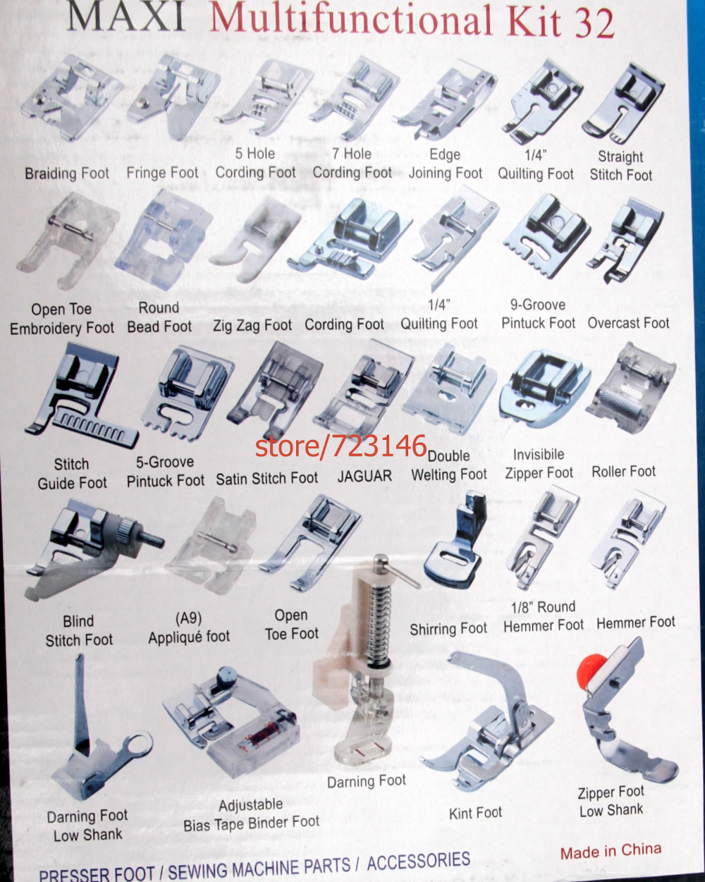 Multifunctional Kit  32pcs Resser Foot Feet Domestic Sewing Machine Part Accessories For Brother Juki Singer Pfaff Janome Elna