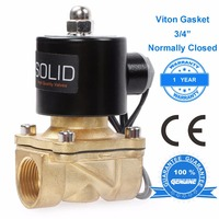 U.S. Solid 1/2, 3/4, 1 Brass Electric Solenoid Valve 24 V 12V DC 24V 220V AC, G Thread Normally Closed, Air Water oil