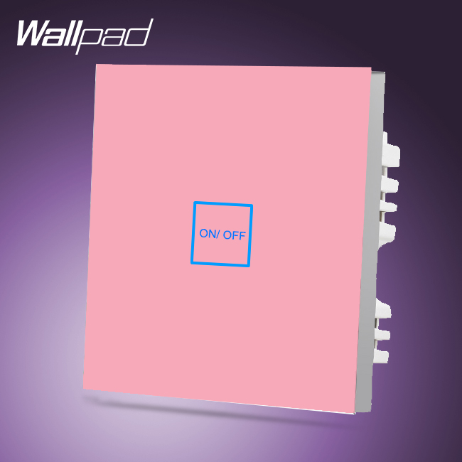 Wallpad Smart Home UK 1 Gang 1 Way Pink Luxury Glass LED Touch Light Switch 110-250V,Free Shipping suck uk